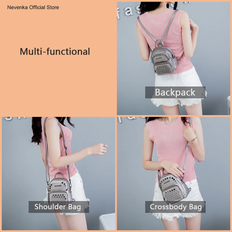 Nevenka Fashion Women Bag School Lady Backpack PU Leather Bags Student Shoulder Bag Casual Female Backpacks Softback Bags Sac11