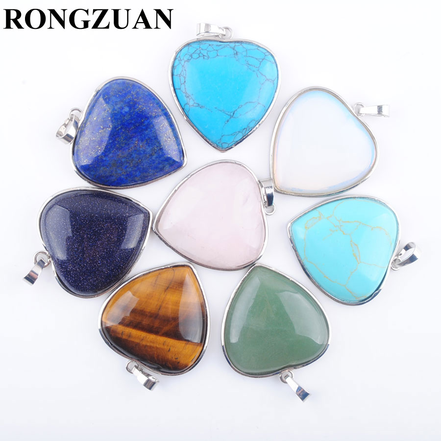 RONGZUAN Natural Lapis Lazuli Blue Sand Amethysts Rose Quartzs Gem Stone Beads Inlaid Heart Reiki Chakra Pendant Jewelry TBN318(China)