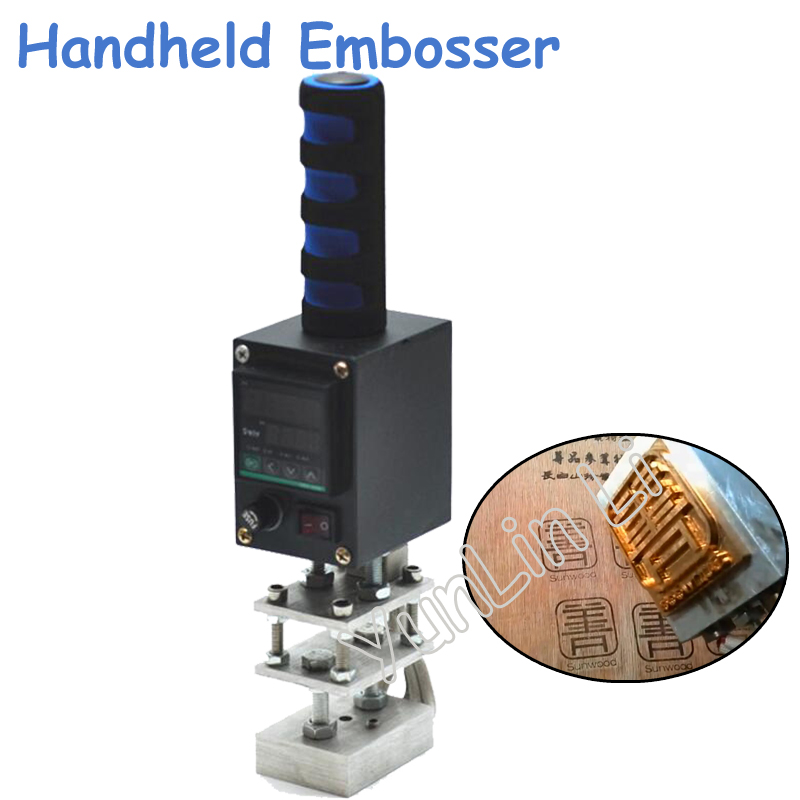 110V/220V 5*7cm Handheld Embosser Wood Hot Stamping Machine Leather Embossing Tool Manual Logo Electrical Brand Printing custom machine insoles manual hot stamping machine pressure label machine brand trademark leather embossing printed logo