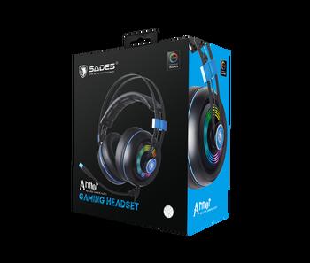 SADES Armor USB Gaming Headset Realtek Gaming Audio Lightweight RGB Lighting Noise-cancellation For PC 6