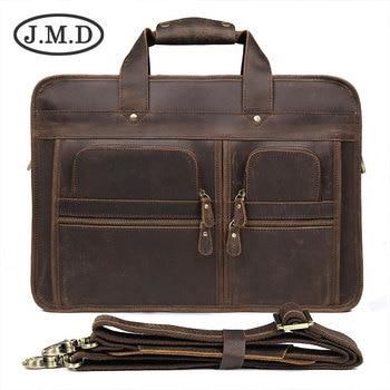 7d9df07e54ff Для мужчин Crazy Horse кожа Бизнес Портфели ноутбука Винтаж сумка пояса из  натуральной кожи сумки на плечо Tote портфель