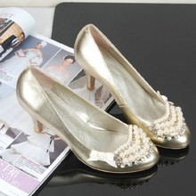 2016 Autumn and Winter Gold Wedding Dress Shoes High Heel Shoes  Rhinestone Bridal Shoes Single Shoes