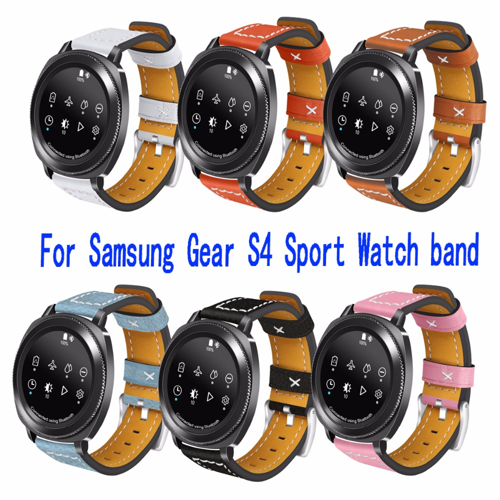 Joyozy For Samsung Gear S4 Sport Watch band Genuine leather Replacement Bracelet Strap Wristbands For Samsung Gear S4 iWatch