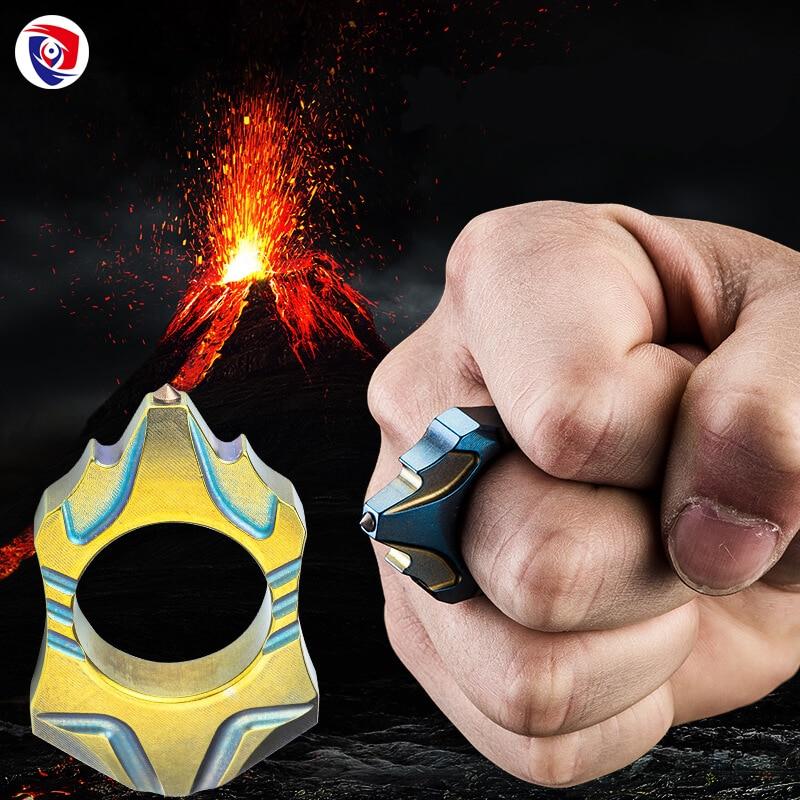 Volcano New titanium alloy Tungsten Steel Self Defense Survival Tactical Supplies Ring Women Men Safety Survival Finger Ring цена