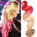 Ombre 2 Tone Blonde Pink Clip En Pelo Sin Procesar Malasia Pelo Virginal Cuerpo Wave10pc/set Pink Clip En Extensiones de cabello