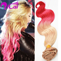 Ombre 2 Tone Blonde Pink Clip In Hair Unprocessed Malaysia Virgin Hair Body Wave10pc/set Pink Clip In Human Hair Extensions