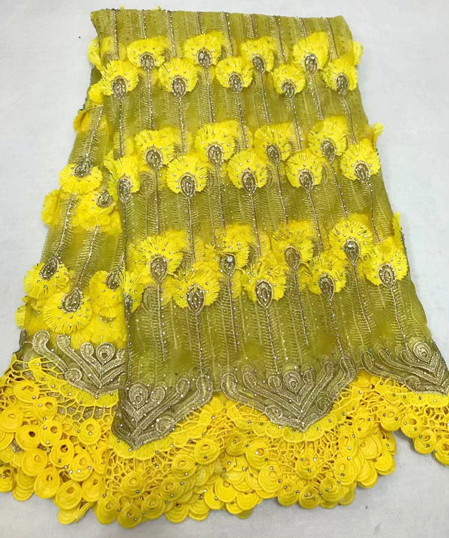 French Embroidery Mesh TulLe Lace Fabric yellow tassel Pattern Beaded African Lace Fabrics Wholesale For Wedding Party Dress