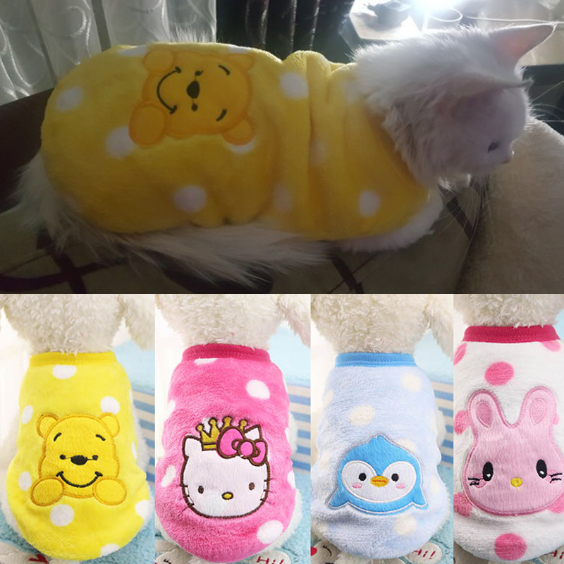 Autumn Winter Cat Clothes Cartoon Pet Clothing For Small Dogs Cats Outfits Coat Warm Soft Fleece Animals Vest Clothing Xs-xxl