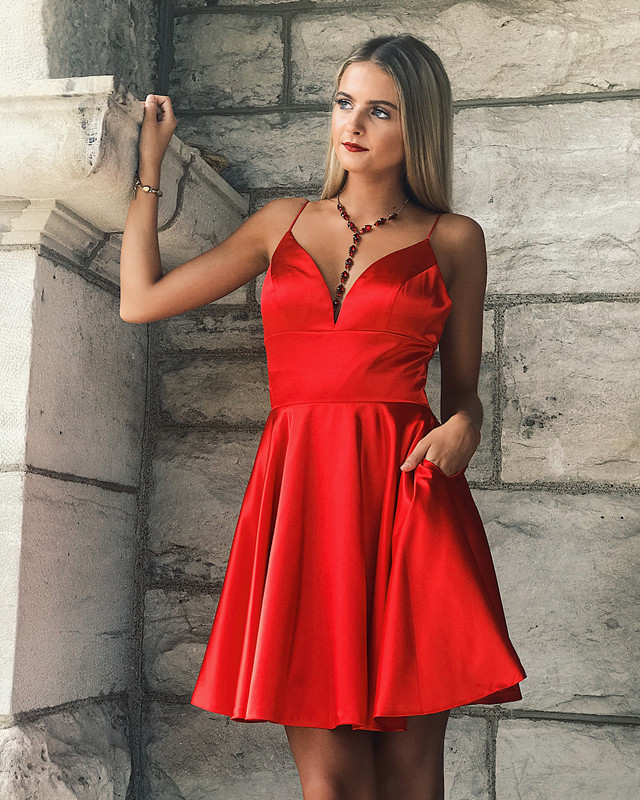 Dlass 2019 Elegant Mini Homecoming   Cocktail     Dresses   with Pockets A-line Satin Spaghetti Straps Party Short Prom   Dress   Formal