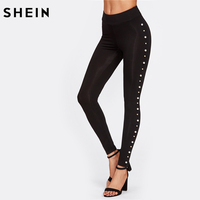 SHEIN Pearl Embellished Leggings Casual Activewear Women Black Leggings Fall 2017 Fashion Workout Clothes For Women