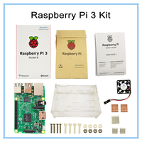 Raspberry Pi 3 Model B Board With Wifi Blue Raspberry Pi Case With Fan And Heat