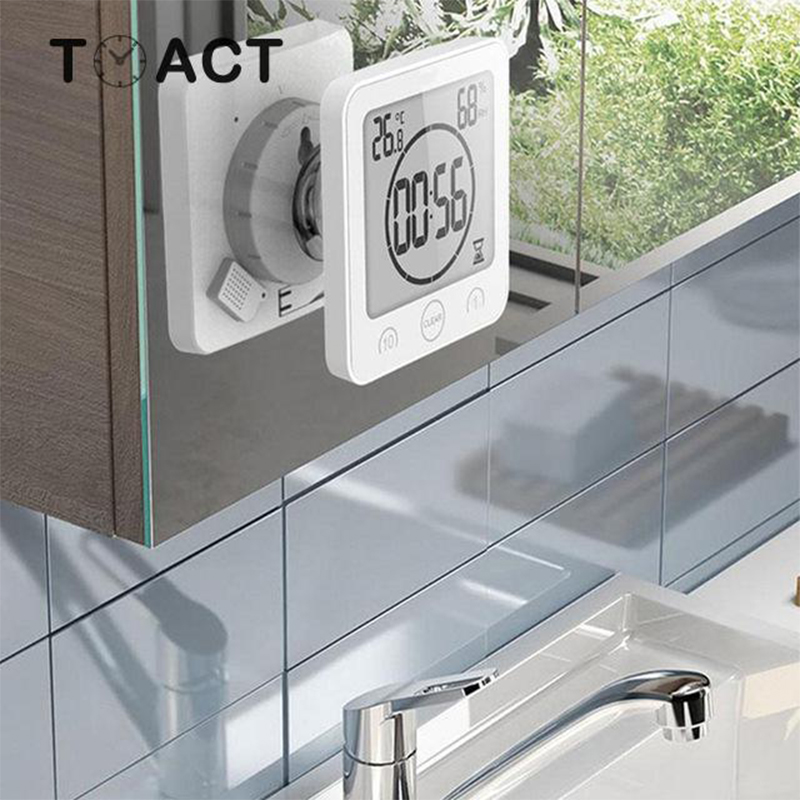 Kitchen Wall Clock Bathroom Watch Waterproof Timer For Bathtoom LCD Digital Clocks Home Decoration Accessories Reloj Cocina