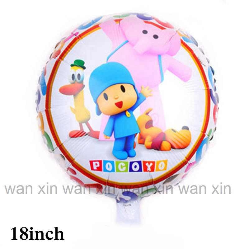 1 pcs new style 18 polegada rodada estilo dos desenhos animados pocoyo pocoyo balões folha balões de hélio para balões de festa de aniversário do miúdo fornecer
