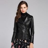 Yolanfey куртка из натуральной кожи женское пальто из овчины костюм воротник короткая тонкая Мотоциклетная Куртка Jaqueta CN186P01 MF120