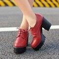 Más el tamaño 34-42 mujeres Soft zapatos de cuero nuevos 2015 de invierno con cordones de plataforma de moda para mujeres cargadores del tobillo Punk Martin arranque