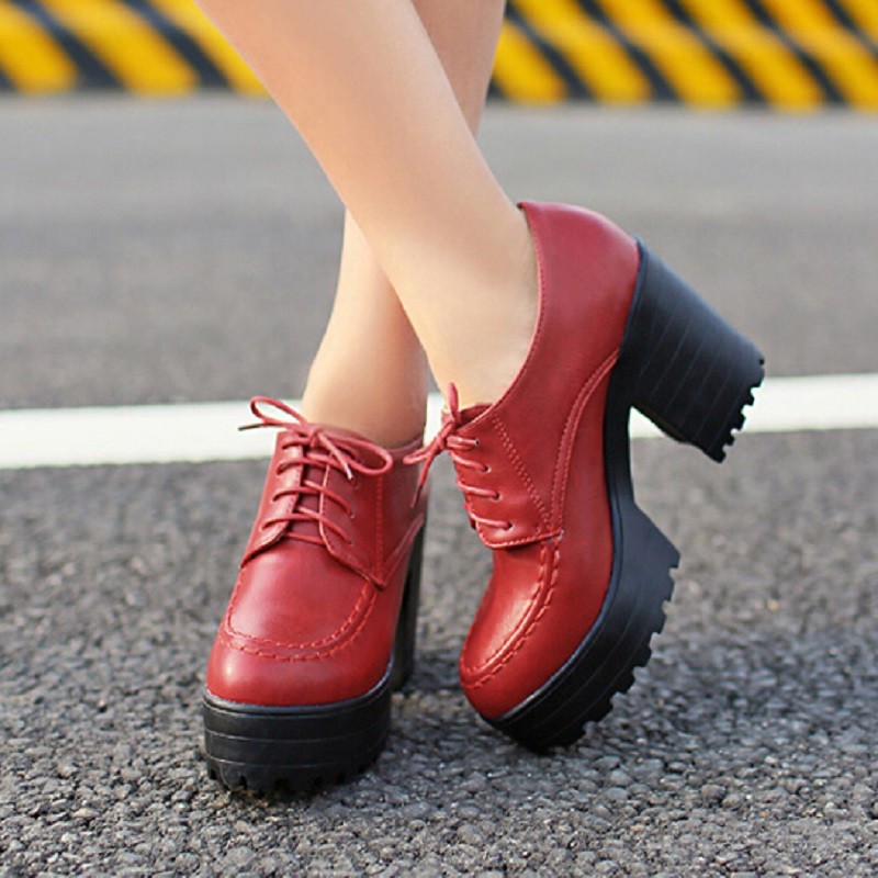 Plus Size 34-42 Women Soft Leather Shoes New 2015 Winter Lace-Up Fashion Platform Boots For Women Ankle Boots Punk Martin Boot