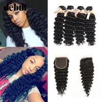 Debut Hair Deep Wave Bundles With Closure Peruvian Hair Weave 28 Inch 3/4 Bundles WIth Closure Non Remy Human Hair Extension