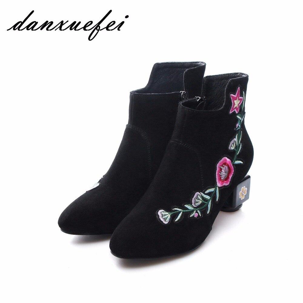 Mujers Black Botines Cómodo Flores green Cortos Bordado Vintage Marca Otoño Retro Talón Med Bota Zapatos Diseñador Mujeres ZB160qw