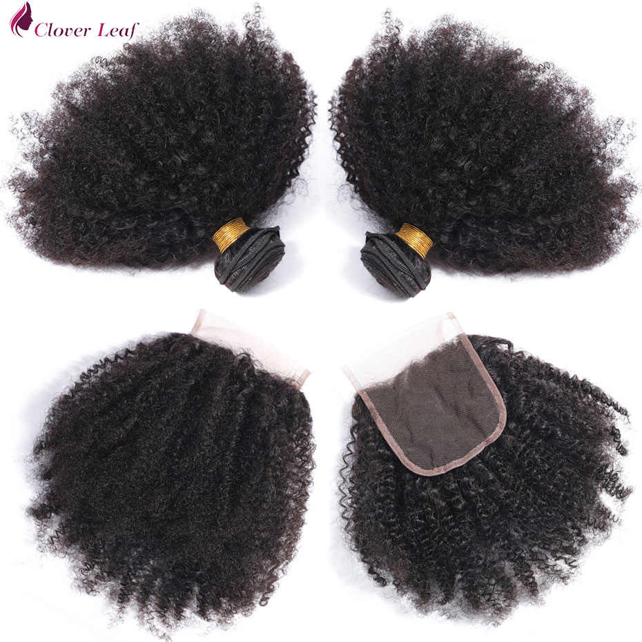 Clover Leaf Indian Hair 3 Bundles With Closure Remy Human Hair Afro Kinky Curly Bundles With 4*4 Lace Closure Natural Color