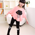 XHFS 555 New arrival Girl t shirt Nova brand Spring/Autumn Long sleeve Bat sleeves t shirt long pants suit  Girls set xhfs 555