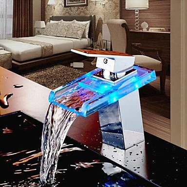 Bathroom Basin Faucet Color Changing LED Waterfall Brass Faucet Tap,Torneira Para Banheiro color changing led waterfall tap for bathroom sink faucet torneira para de banheiro