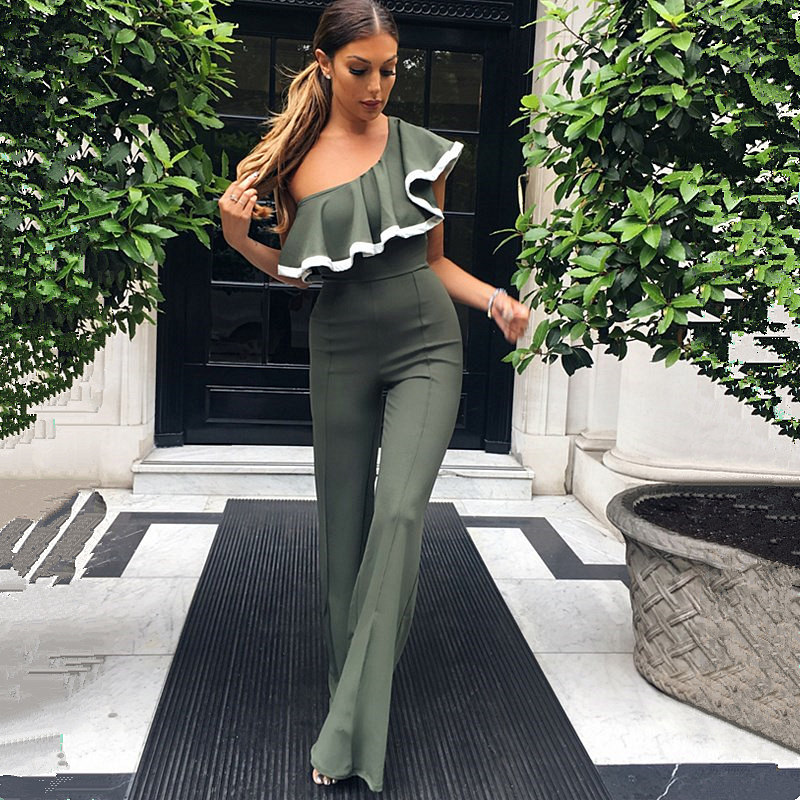 Off Shoulder Summer Jumpsuit Ruffles Flounces Overalls Women Streetwear Long Wide-legged Trousers Sexy Ropa Mujer Verano 2018