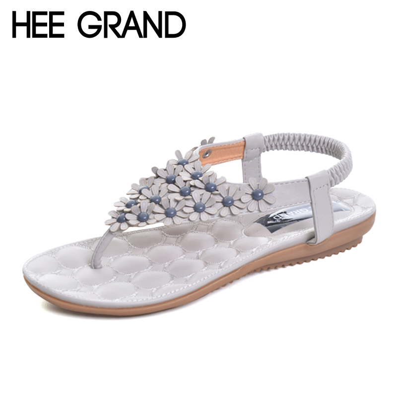 HEE GRAND Summer Gladiator Sandals 2017 New Platform Flip Flops Flowers Flats Casual Slip On Shoes Flat Woman Size 35-41 XWZ3651 hee grand 2017 wedges gladiator sandals bling crystal flip flops sexy high heels gold casual platform shoes woman xwz3463
