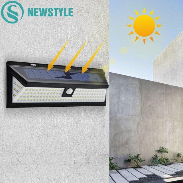 118 luces solares LED al aire libre 1000LM 3 modos inalámbrico PIR Sensor de movimiento jardín lámpara Solar luces de seguridad impermeables iluminación
