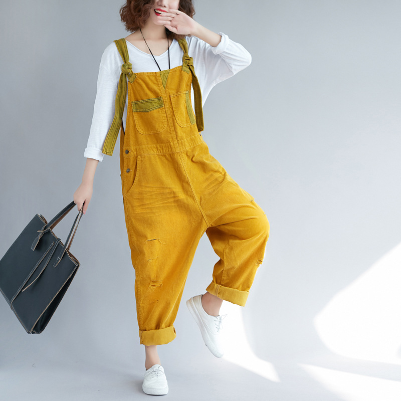 Large size Corduroy bib pants Women Baggy   Jumpsuits   Patchwork hanging crotch Rompers Trousers hip hop Ripped dancing Overalls