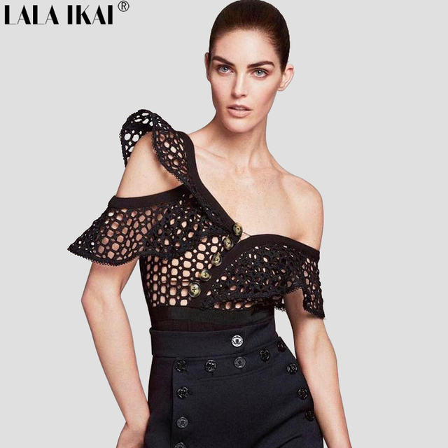 1a57bcd75d 2017 New Solid Black Jumpsuit Ruffle Sleeve Spring Woman Lace Crochet  Hollow Out Tunic Bodysuit Women England Style KWH0231