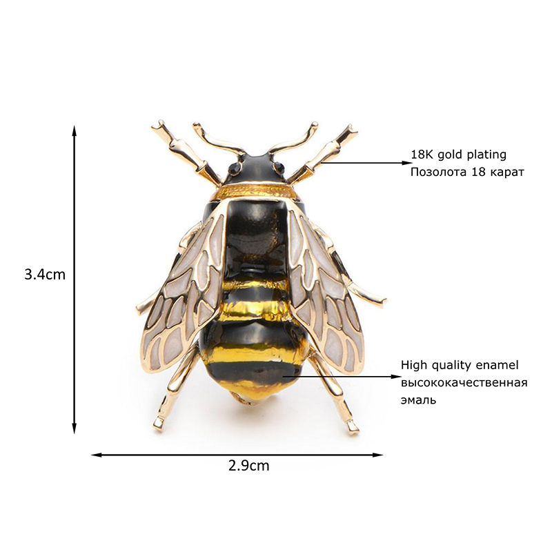 Wuli&Baby Enamel Bumblebee Brooches Men Women's Alloy Yellow Bee Insect Brooch Christmas Gift Broche Banquet Pins 4