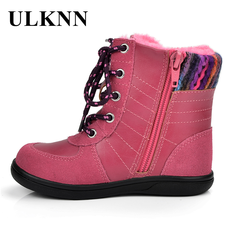 ULKNN Winter Kids Shoes For Girls Snow Boots Children Genuine Leather With Fur Pink Plush bota