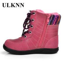 ULKNN/зимняя детская обувь для девочек; зимние сапоги; детская обувь из натуральной кожи с мехом; розовый плюш; bota tenis infantil; ботинки для девочек