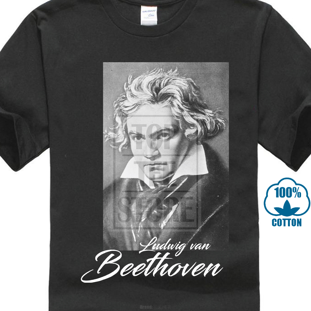 Ludwig Van Beethoven T Shirt Black Sizes S 5Xl 100% Cotton Composer & Pianist image
