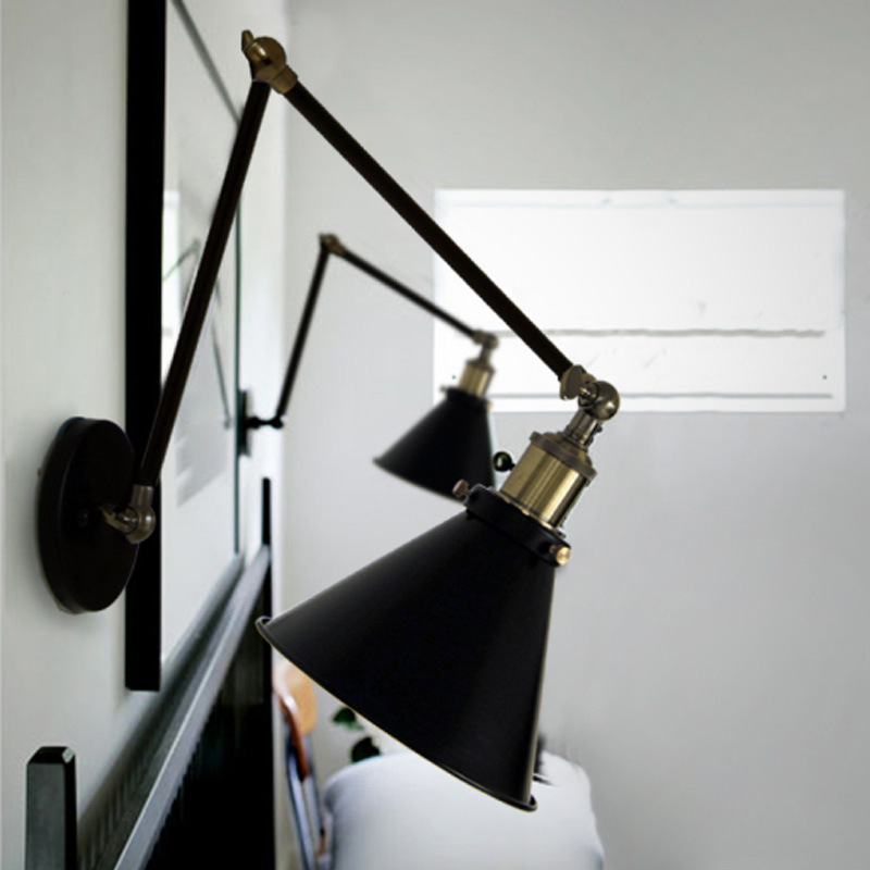E27 Loft retro Matte Black iron shade adjustable swing arm reading wall lamps Lights sconce for workroom bedroom bar cafe e27 vintage indoor black wall lamps loft swing rock wall sconce 2 head lights robot arm sconce wall lamp for workroom cafe