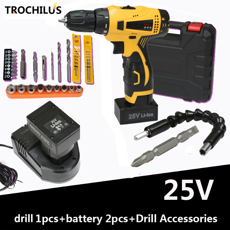 High-quality 25V power tool Cordless electric screwdriver with lithium battery * 2 Mini multi-function household toolbox high quality screwdriver combination set unique telescopic function
