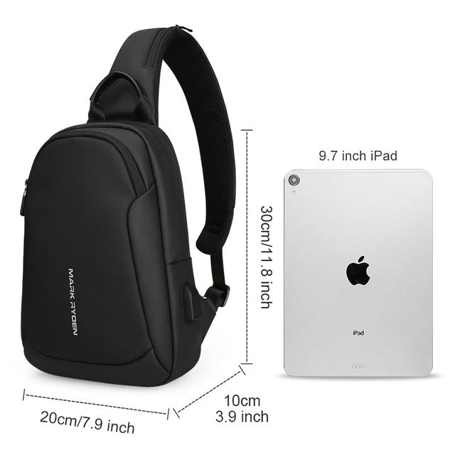 Mark Ryden Multifunction Crossbody Men Bags Waterproof USB Charging Chest Pack Short Trip Messengers Chest Bag Shoulder Bag Male