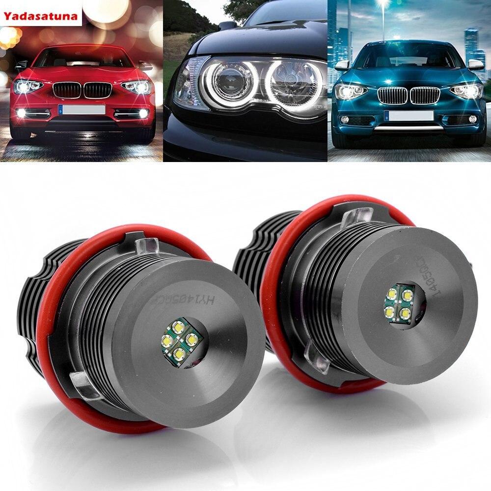 Pair High Power White 6000K 40W LED Angel Eye Halo Ring Marker Light Bulb For BMW
