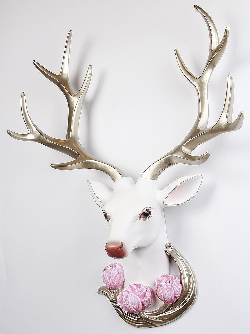 Modern Deer Head Sculpture Wall Hanging Elk Statue Decoration Home 3D Handmade Ornament Artwork Craft Animals Sculpture