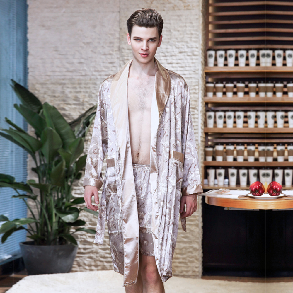 New style mens pyjamas summer imitation silk Printed long-sleeved robe mens home wear ...