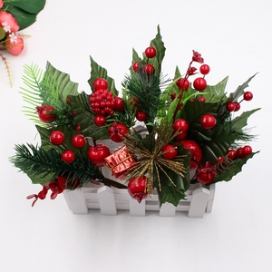 1pcs/LOT Artificial Flower Pearl Stamens Berry Mixed branches For Wedding decoration DIY Christmas party decorations Gift Box
