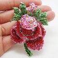 Старинные очаровательная красный цветок позолоченный розового контактный горный хрусталь кристалл