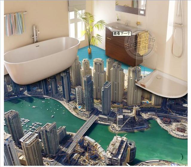 3D Wallpaper Custom Mural Pvc Wallpaper High Rise Buildings 3D Bathroom  Floor Painting