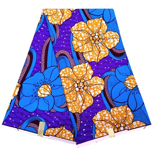 2018 newest african fabric blue floral african print fabric ankara