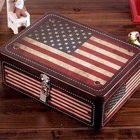 Retro Przenośne American Flag Okno Blokady Rocznika Przechowywania Karton Europejskiej Moda Przypadki Monety Tajne Blaszane Pudło Do Przechowywania Pojemnik Box