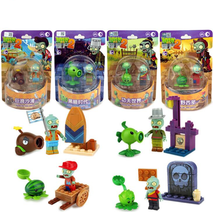 New2 Style Plants Vs Zombies Set Anime Game Building Blocks Bricks Compatible With Legoingly Gifts