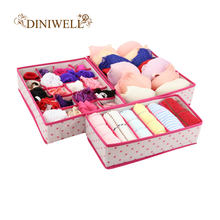 DINIWELL 1 Set Collapsible Storage Boxes For Bra Underwear Folding Closet Organizer Drawer Divider Container(China)