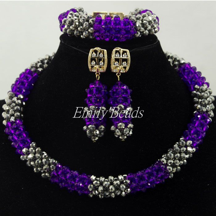2016 Hot Design Nigerian Wedding African Beads Jewelry Set Purple/gray Crystal Beads Necklace Jewelry Set Free Shipping ALJ3502016 Hot Design Nigerian Wedding African Beads Jewelry Set Purple/gray Crystal Beads Necklace Jewelry Set Free Shipping ALJ350