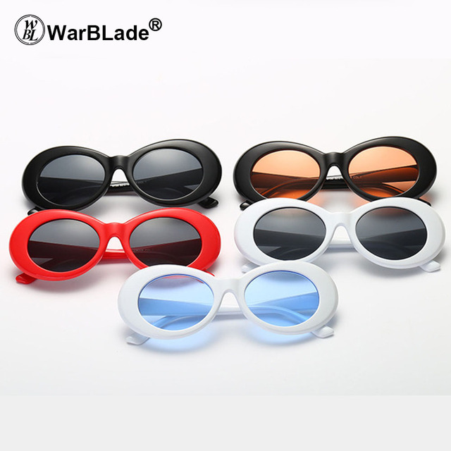 5d94a84860aea WarBLade Clout Goggle Kurt Cobain Glasses Oval Sunglasses Ladies 2018 Vintage  Retro Sunglasses Women s White black Eyewear 5PCS