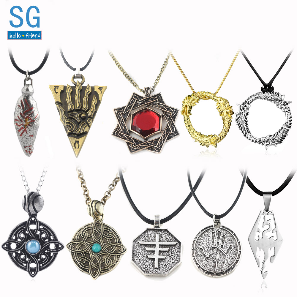 SG 20Pcs Elder Scrolls Skyrim Amulet Morrowind Pendants Necklaces Dark Brotherhood Dinosaur Triangle Men Wholesales Jewelry